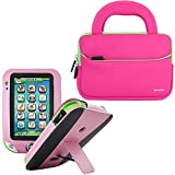 Evecase Pink Leather Stand Case Cover with Hot Pink Handle Carrying Bag for LeapFrog LeapPad Ultra XDI Kids Tablets