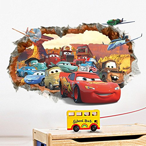 Car general mobilization 3D broken wall children's bedroom wall stickers (Disney Cars Bedroom Decor compare prices)