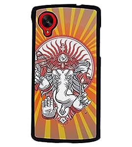 PRINTVISA Jai Shree Ganesh Premium Metallic Insert Back Case Cover for LG Nexus 5 - D6110