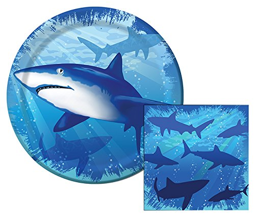 Shark Splash Themed Dessert Napkins & Plates Party Kit for 8