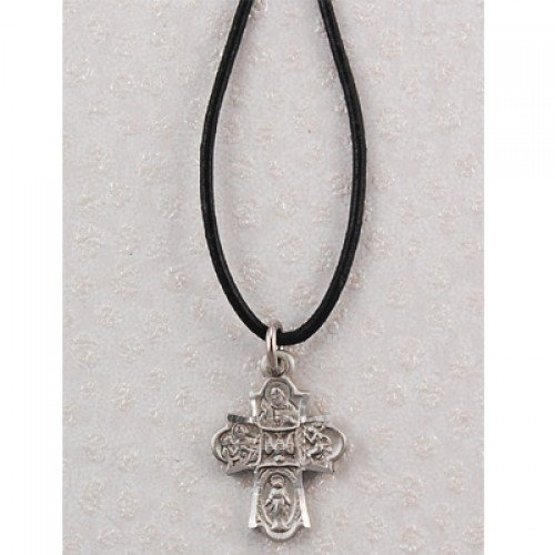 Pewter 4-Way Leather Cord Card Pewter Pendants & Gifts Leather Corded Pewter Men's Christian Catholic Pendant Charm Necklace Jewelry Reminders of Faith Medals