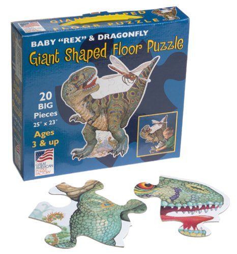 "Great American Puzzle Factory Baby ""Rex""and Dragonfly Giant Shaped Floor Puzzle"