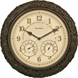 """Chaney Clock/Thermometer/Hygrometer Combo 15"""" - Wicker"""