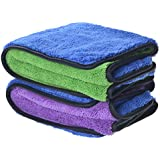 """720gsm Ultra Thick Plush Microfiber Car Cleaning Towels Buffing Cloths Super Absorbent Drying Auto Datailing Towel (16""""x16"""", 2 Pack (blue/purple+blue/green))"""