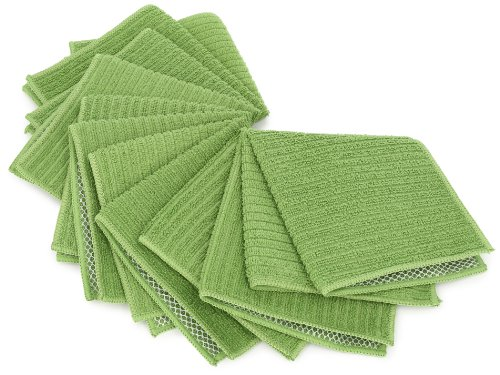 Dii Kitchen Millennium Cleaning, Washing, Drying, Ultra Absorbent, Microfiber Scrubber Cloth, Sage, Set Of 6