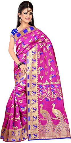 IndianAttire Traditional Women's Banarasi Art Silk Saree Sari Fabric MAGENTA