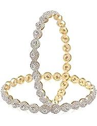 Zeneme American Diamond Gold Plated Wedding Bangles Jewellery For Women / Girls