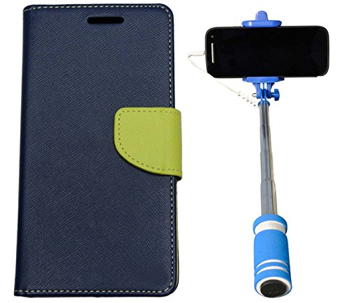Uni Mobile Care Flip Cover For Apple iPhone 6 - Blue + Mini Pocket Selfie Stick With Aux Cable For Mobile - Blue