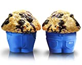 """Set of 6 Mr Muffin - """"Muffin Top"""" Bake Cups! These Novelty Jean Shaped Silicone Bake Cups Create a Hilarious """"Muffin Top"""" Look As the Batter Rises And Spills Over the Waistband! A Must Have for Birthdays and an Excellent Mothers Day Gift! Delight Your Guests with This """"Cheeky"""" Twist on a Muffin Top Pan, and Share a Laugh and a Delicious Muffin or Cupcake Today! With Mr. Muffin Baking Cups You'll Also Receive Free Access to 1000s of the Latest Trending Cupcake and Muffin Recipes, Tips, and More!"""