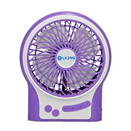 Niceshop® Portable Multifunctional USB Fan Personal Fan 3 Modes Wind Speed Adjustable with 18650 Rechargeable Battery and USB Cable (Purple)