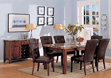 7pc Dining Table & Parson Chairs Set Dark Brown Finish