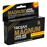Trojan Magnum Large Latex Condoms with Warm Sensations Lubricant, 12-Count Boxes (Pack of 3)