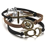 Justeel Men,Women Alloy Genuine Leather Bracelet Link Wrist Silver Black Brown Gold Compass Handcuffs Cross Punk Rock (with Gift Bag) (Width: 0.83