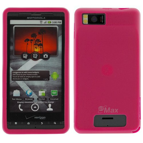 GTMax Hot Pink Soft Rubber Silicone Skin Cover Case for Verizon Motorola Droid X CDMA Cell Phone