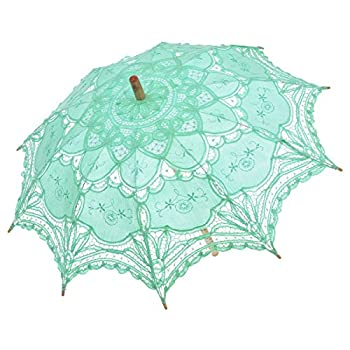Remedios Ivory Bridal Wedding Cotton Lace Parasol Umbrella for Party Decoration