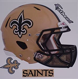 New Orleans Saints Fathead Helmet + Logo + Sign Set of 3 Official NFL Vinyl Wall...