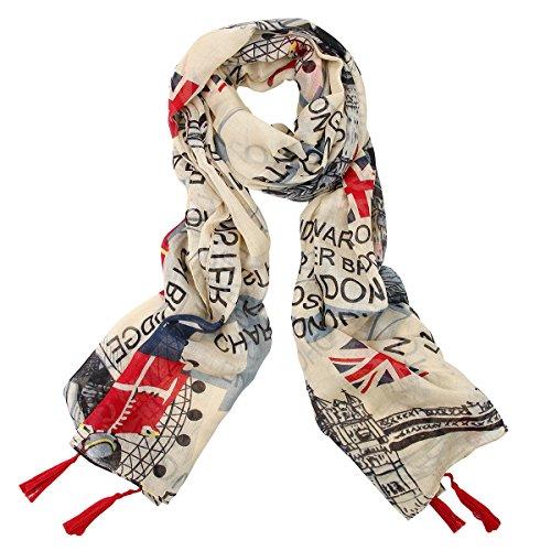 Jewelrywe Donne Londra giornali UK bandiera Union Jack Stampa sciarpa scialle lungo sciarpe dell'involucro