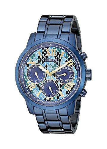 guess-womens-u0330l17-iconic-indigo-blue-python-print-multi-function-watch