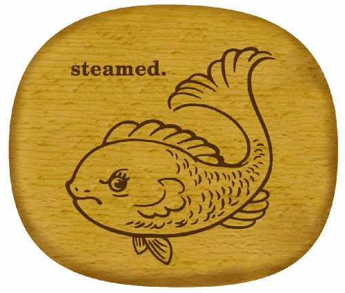 Talisman Designs Get Real Angry Animals Beechwood Cheese Board, Steamed Fish Design