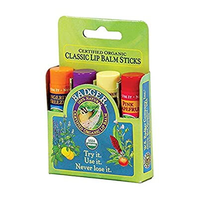 BADGER Classic Lip Balm, 4-Pack