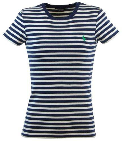 Ralph Lauren Sport Womens Striped Crewneck T-Shirt - S - Navy/White