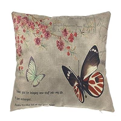 Luxbon Vintage Kissenbezug Kissenhülle Schmetterling und Blume Platz Dekorative Akzente Setzen Fall Sofa 45x45 cm von Luxbon bei Gartenmöbel von Du und Dein Garten