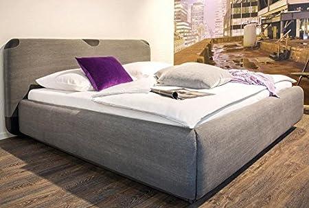 Bett 180 x 200 cm Stoffbezug grau und Kunstleder schwarz