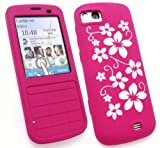 FLASH SUPERSTORE NOKIA C3-01 LCD SCREEN PROTECTOR AND SILICON CASE/COVER/SKIN FLORAL HOT PINK