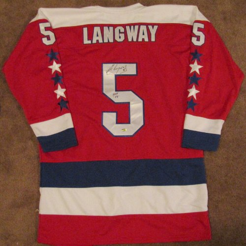 Rod Langway Autographed Red Custom Jersey - Washington Capitals - HOF 02 Insc at Amazon.com