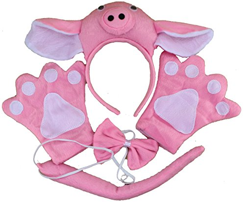 Cute Novelty Xmas Party EAR Pink Pig Animal Costume Headband Paws Bow Tail 4pc Set
