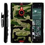 Nokia Lumia 1520 Case, Nokia Lumia 1520 Holster, Two Layer Hybrid Armor Hard Cover with Built in Kickstand for...