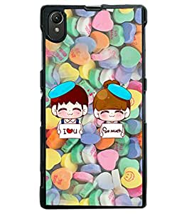 Fuson Heart Pattern Couple Back Case Cover for SONY XPERIA Z1 - D3984