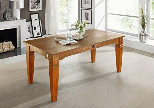 Table à manger 220x100cm - Bois massif d'acacia laqué (Miel) - OXFORD #0607