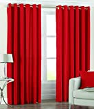 Elegance red plain polyester door set of 2 curtains ( 7 Feet )