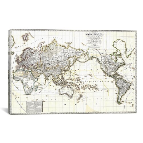 iCanvasART Antique French Map of The World by Antique Maps Canvas Art Print, 26 by 18-Inch (Fine Art Paintings compare prices)