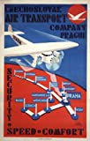 Vintage Aviation & Travel c1938 CZECHOSLAVAKIA Air & Transport Company, Prague LONDON to WIEN A Reproduction Poster on A3 200gsm Soft-Satin-Finish Art Card
