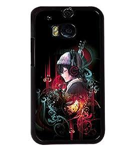 PRINTVISA Musical lady Premium Metallic Insert Back Case Cover for HTC One M8 - D5691