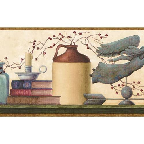 Brown and Blue Country Shelf Wallpaper Border Home & Kitchen