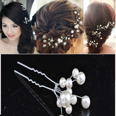 White Pearl Bridal Wedding Hair Pin (Pack of 6)