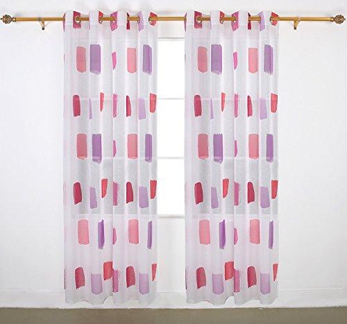 deconovo gardinen leinenoptik vorhang transparent bunt. Black Bedroom Furniture Sets. Home Design Ideas