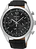 Seiko Chronograph Black Dial Stainless Steel Black Leather Mens Watch SSB097