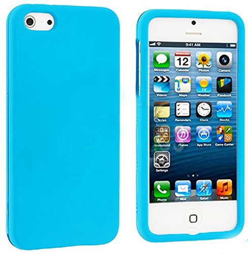 Mylife Sky Blue Flat Series (2 Piece Snap On) Hardshell Plates Case For The Iphone 5/5S (5G) 5Th Generation Touch Phone (Clip Fitted Front And Back Solid Cover Case + Rubberized Tough Armor Skin)
