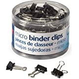 Officemate Micro Size Binder Clips, Black, 100 per Tub (31030)