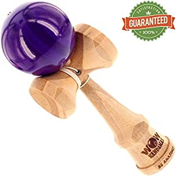 WOW Kendamas - Bamboo Pro Kendama - Natural Wooden Toy for Girls & Boys - Plain Wood or Cool Translucent Painted Finish - Best USA Quality Bam-Boss Model - Order Yours Today! (Purple)