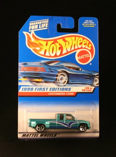 Hot Wheels - 1998 First Editions - Customized C3500 - Chevy Pickup - Die Cast - Green - #26 of 40 - Collector #663 - Limited Edition - Collectible 1:64 Scale - 1