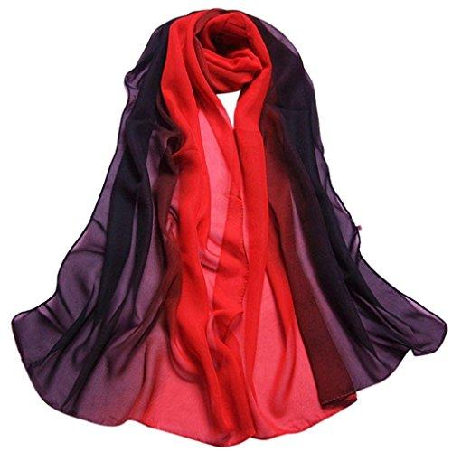 [Creazy® Fashion Lady Gradient Color Long Wrap Women's Shawl Chiffon Scarf Scarves (Black)] (Black Magic Woman Costume)