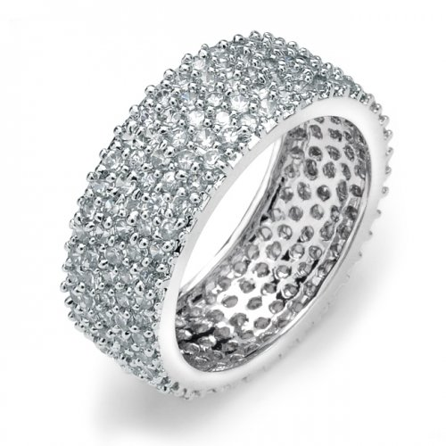 Bling Jewelry Five Row .925 Sterling Silver Micro Pave Cubic Zirconia Eternity Band