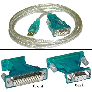 CableWholesale Type A Male to DB9/DB25 Male 6-Feet USB to Serial Cable (10U1-16106)