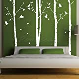 Custom Color PopDecals - Set of 4 big birch trees - 8 feet 6 in - nursery wall decals tree vinyl wall art wall decor sticker wall vinyl stickers pop baby gift idea