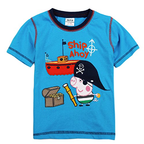Boys Short Sleeve Cotton T-shirt with Embroidery,blue,2-6y